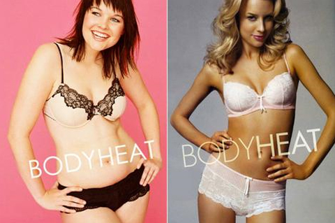 bodyheat lingerie models; plus size and thin