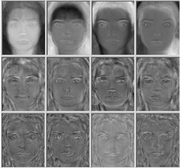 Eigenfaces from largest to smallest eigenvalues.
