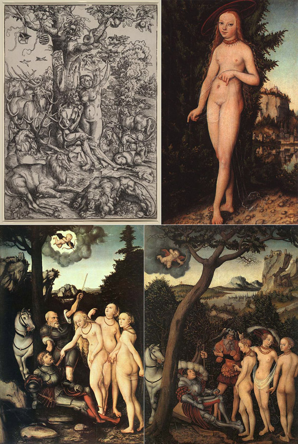 Adam and Eve in paradise, Venus, and two versions of The Judgment of Paris by Lucas Cranach the Elder