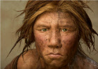 a Neanderthal woman, front view
