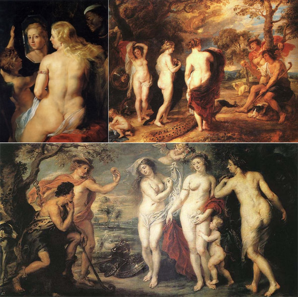 Venus at the mirror and two versions of The Judgment of Paris by Peter Paul Rubens