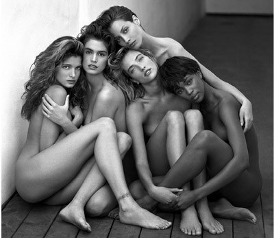 supermodels; Stephanie Seymour, Cindy crawford, Christy Turlington, Tatjana Patitz, Naomi Campbell