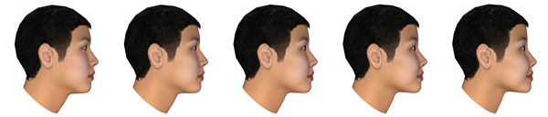 Asian masculine vs. feminine women, side view