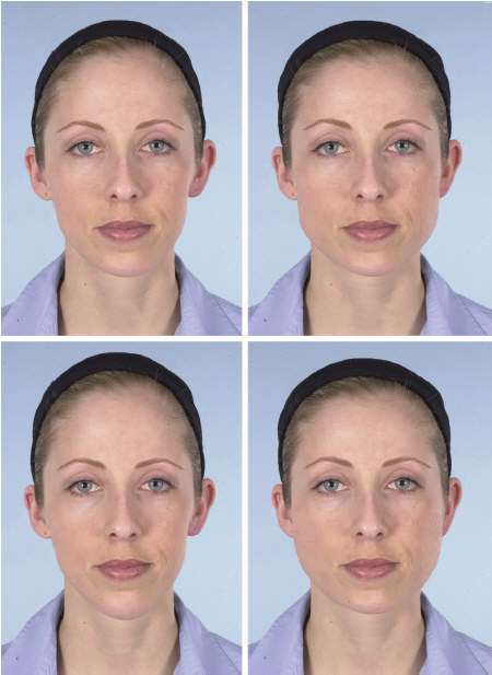 A model's face morphed into oval, square, long and round shapes.