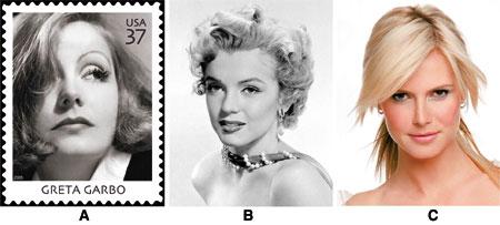 Greta Garbo, Marilyn Monroe, Heidi Klum
