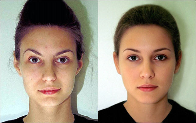 Miss Berlin (left; Katrin Wrobel; the pageant winner) and the composite face (right).