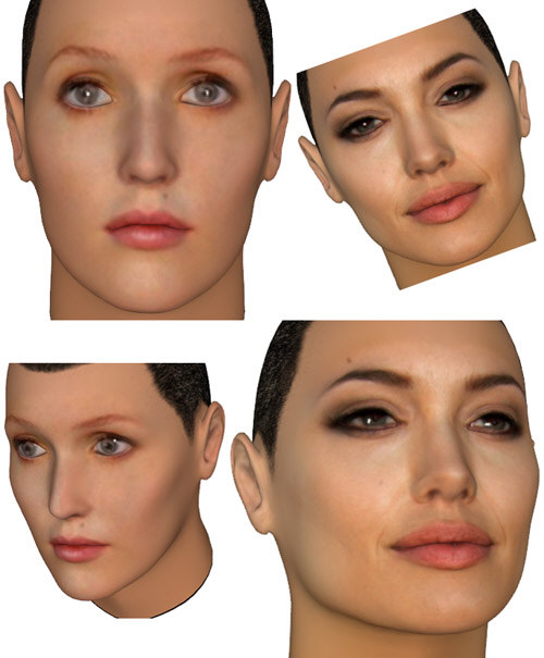 3D-art by Strigoi depicting Gillian Anderson and Angelina Jolie.