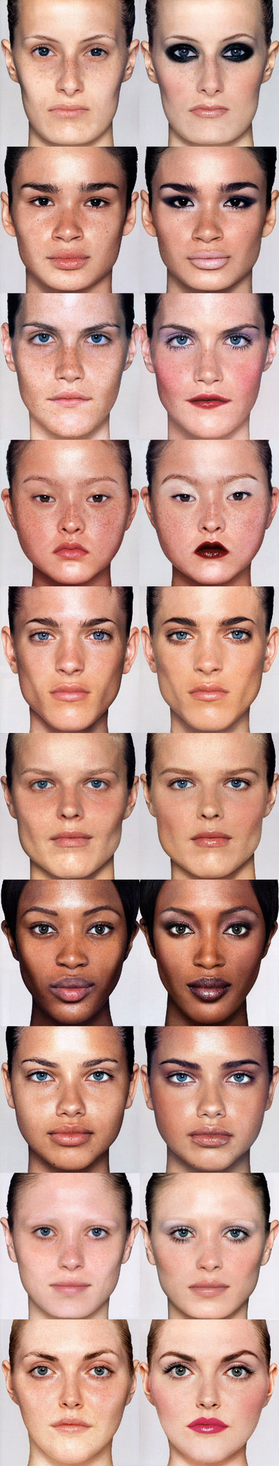 Fashion models with and without make-up; Rhea Henderson, Caroline Ribiero, Missy Rayder, Devon Aoki, Emily Sandberg, Eva Herziogova, Naomi Campbell, Adriana Lima, Yfke Sturm and Sophie Dahl