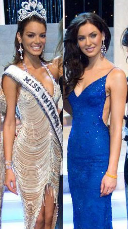 Miss Universe 2006 Zuleyka Rivera (left) and Miss Universe 2005 Natalie Glebova