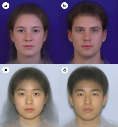 Composite white and Japanese faces.
