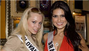 Miss Slovak Republic - Lucia Senasiova (left) and Miss Brazil Natalia Guimaraes.