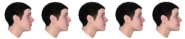 European masculine vs. feminine women, side view