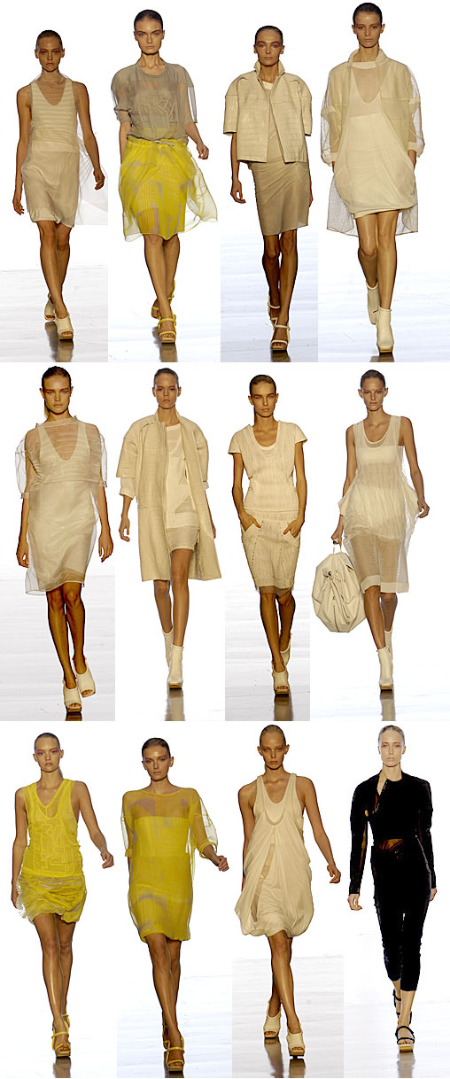 Spring 2007 Calvin Klein collection displayed during a fashion show; skinny models; Gemma Ward, Lily Donaldson, Natalia Vodianova, Raquel Zimmermann and others