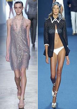 Daria Werbowy and another skinny high-fashion model.