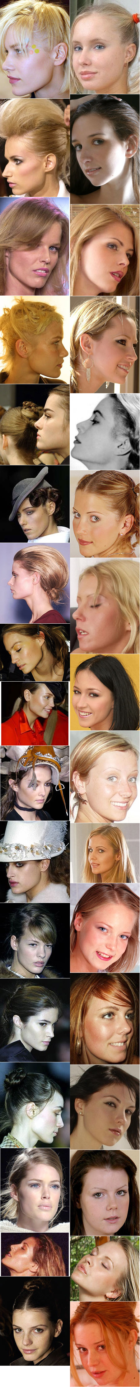 The jaw structure of high-fashion models contrasted with that of feminine glamour models.